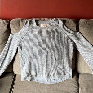 Hollister sz Medium gray cold shoulder sweater